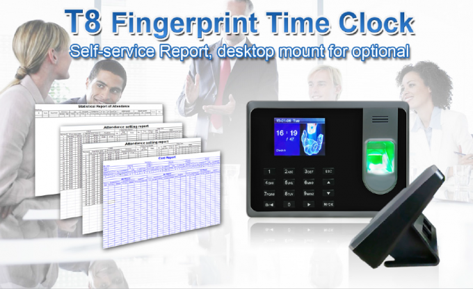2.8 Inch TFT Screen Fingerprint Time Attendance System Support ID Card Reader